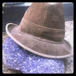 Really hip vintage leather fedora hat